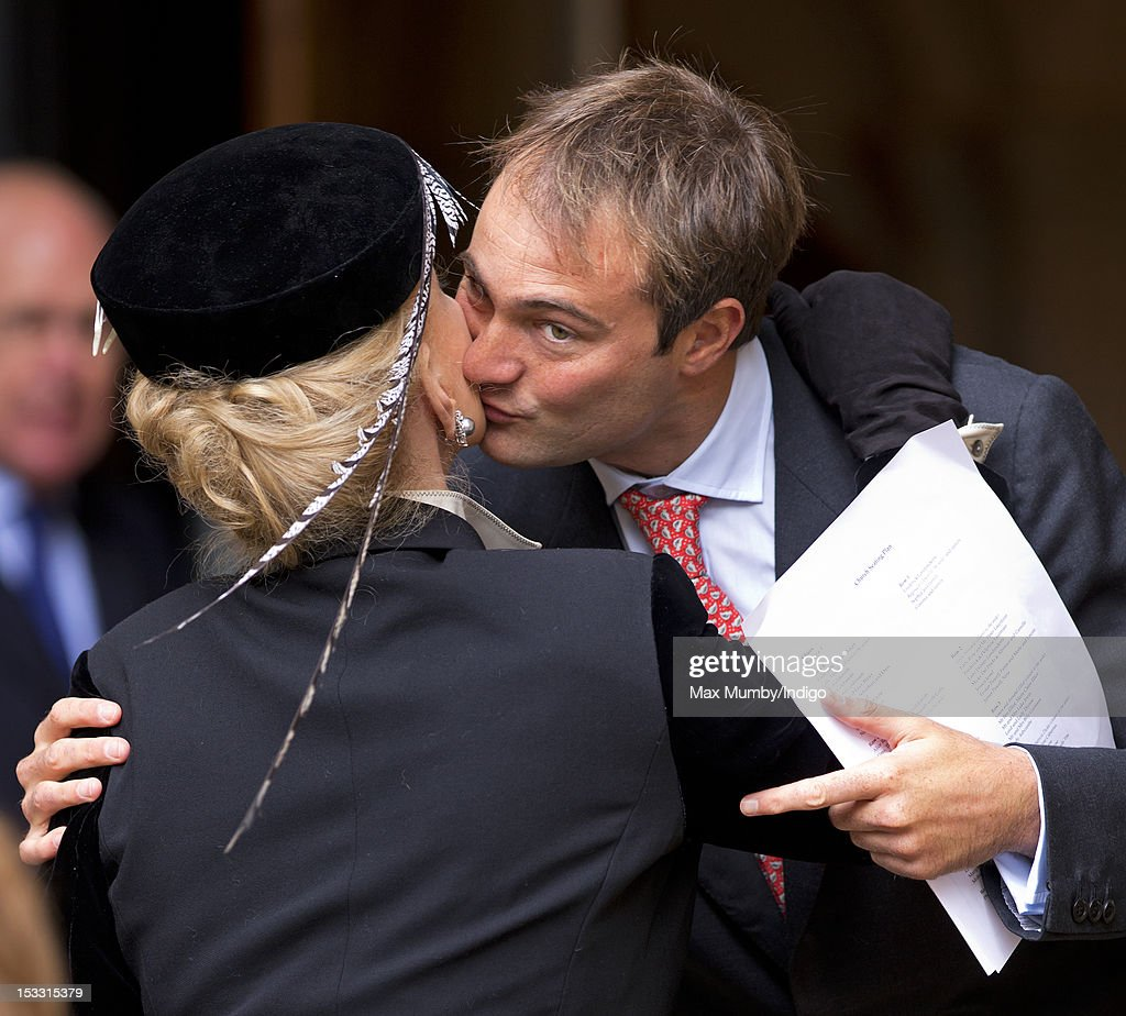 Princess Michael of Kent kisses Ben Goldsmith as they attend a memorial service for Alistair VaneTempestStewart 9th Marquess of Londonderry at St...