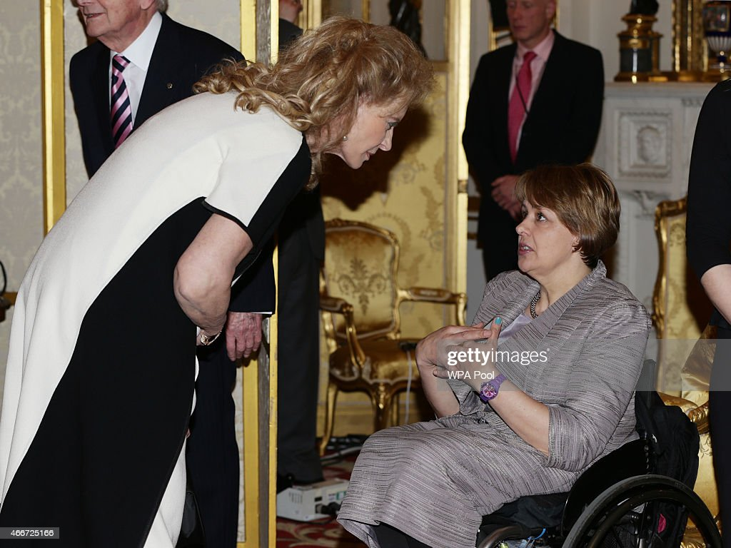 Princess Michael of Kent meets Baroness Grey-Thompson during the Winston Churchill Memorial Trust Reception at Buckingham Palace on March 18, 2015 in London, England.