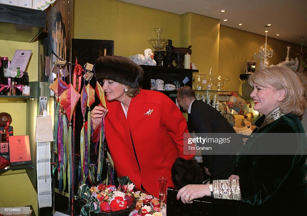 Princess Michael Of Kent Smelling Perfumed Gifts In The Perfume Shop Floris In Jermyn Street London She Was On Her Way To Attend A Christmas Party To...