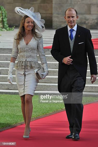 Princess Miriam of Hungary and Prince Kyril of Bulgaria attend the wedding ceremony of Prince Guillaume Of Luxembourg and Princess Stephanie of...