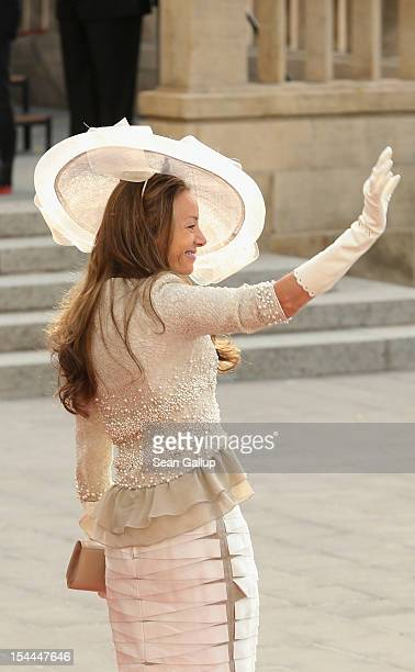 Princess Miriam of Hungary attends the wedding ceremony of Prince Guillaume Of Luxembourg and Princess Stephanie of Luxembourg at the Cathedral of...