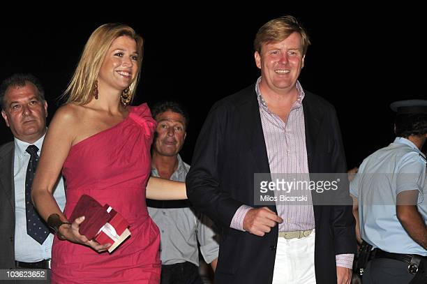 Princess Máxima of the Netherlands and Prince WillemAlexander of the Netherlands attend a prewedding reception at the Poseidon Hotel on August 24...