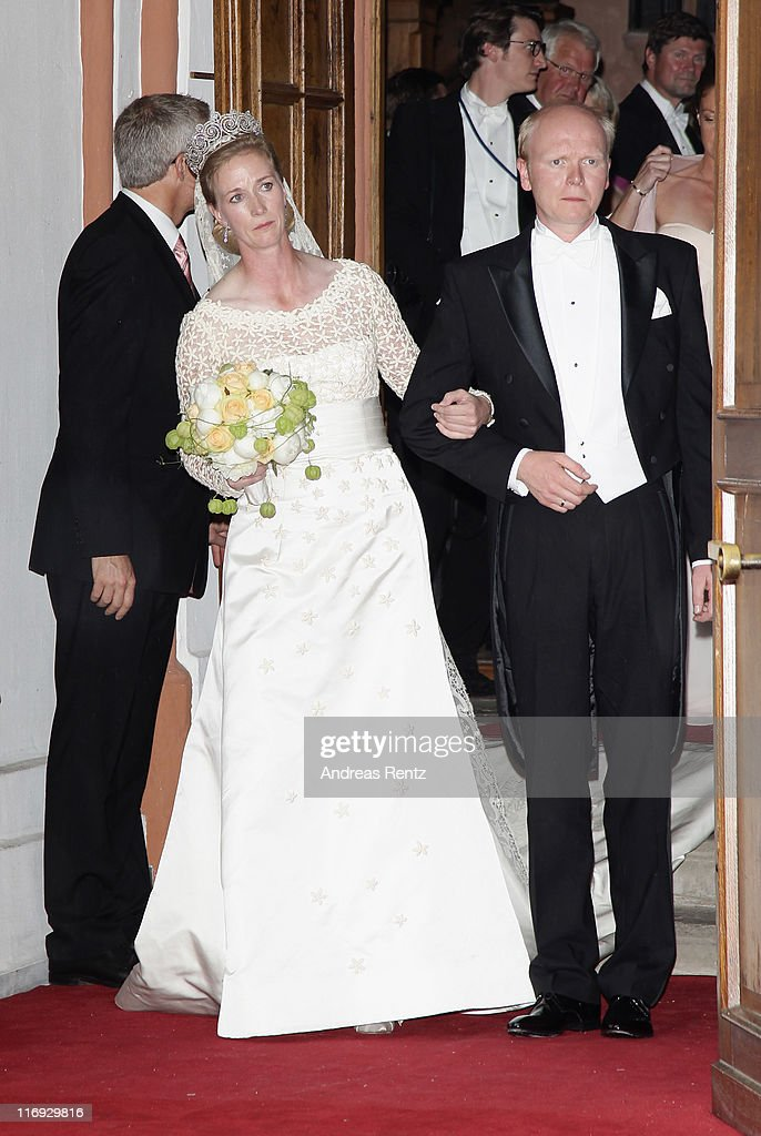 Princess Nathalie zu Sayn-Wittgenstein-Berleburg and Alexander Johannsmann leave after getting married the evangelic Stadtkirche on June 18, 2011 in Bad Berleburg, Germany.