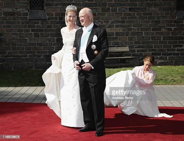 Princess Nathalie zu SaynWittgensteinBerleburg and her father Richard Prince zu SaynWittgensteinBerleburg arrive to her wedding to Alexander...