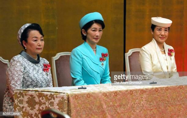 Princess Nobuko of Mikasa Princess Kiko of Akishino and Crown Princess Masako attend the Florence Nightingale Medal Ceremony on August 2 2017 in...
