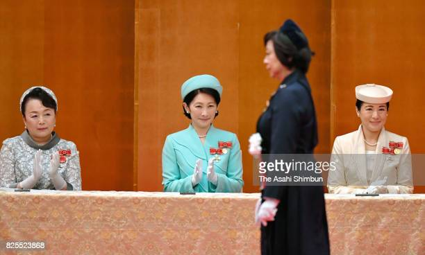 Princess Nobuko of Mikasa Princess Kiko of Akishino and Crown Princess Masako attend the Florence Nightingale Medal Ceremony on August 2 2017 in...