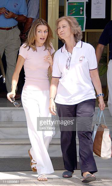 Princess of Asturias Letizia and Queen Sofia at the Real Club Nautico in Mallorca for the 23rd Copa del Rey Sailing Trophy