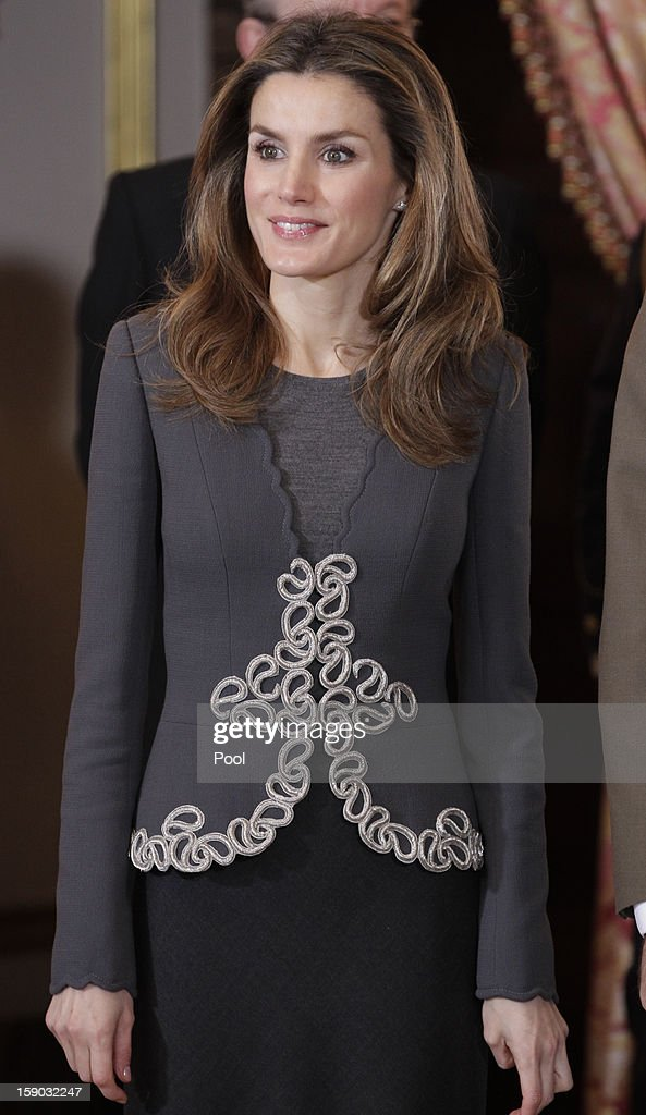 Princess of Asturias Letizia Ortiz attends new year's military parade at the Royal Palace on January 6, 2013 in Madrid, Spain.