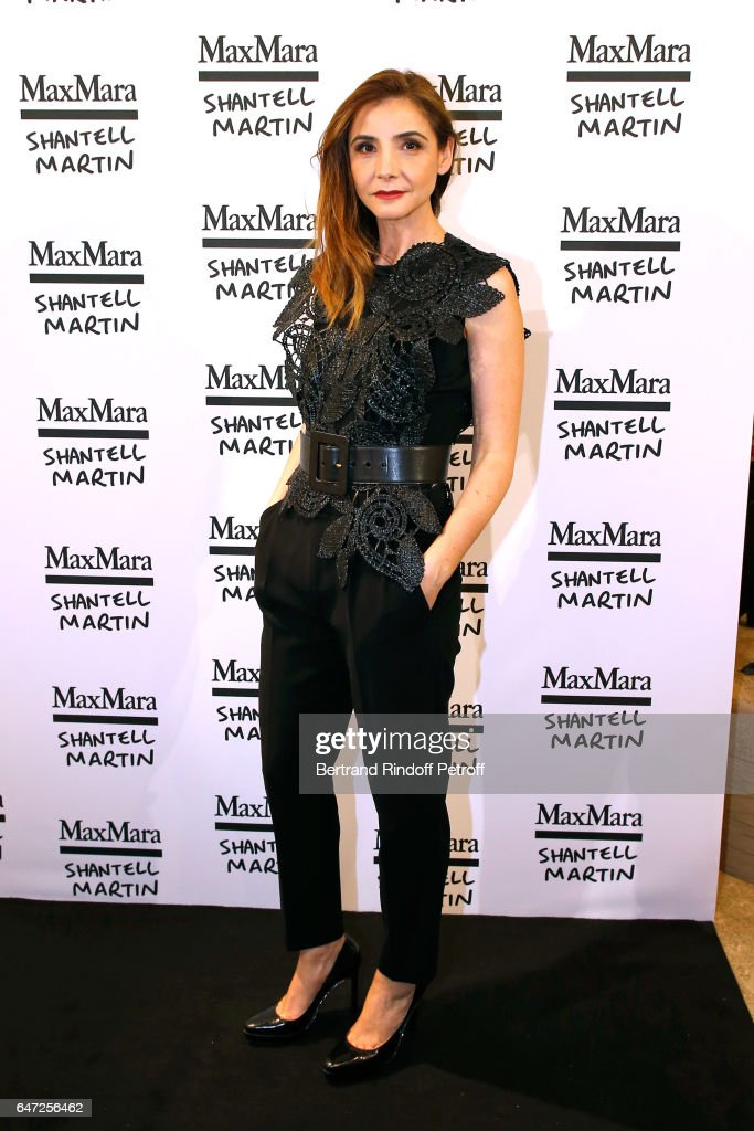 Princess of Savoy, Clotilde Courau attends the Max Mara 'Prism in Motion' Eventas, with the presentation of the new collection Capsule of sunglasses Max Mara, realized in collaboration with the American artist Shantell Martin. As part of Paris Fashion Week Womenswear Fall/Winter 2017/2018 at on March 2, 2017 in Paris, France.
