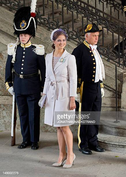 Princess of Sweden Madeleine poses as she leaves the Royal Chapel on May 22 2012 after the christening of Princess Estelle of Sweden in Stockholm...