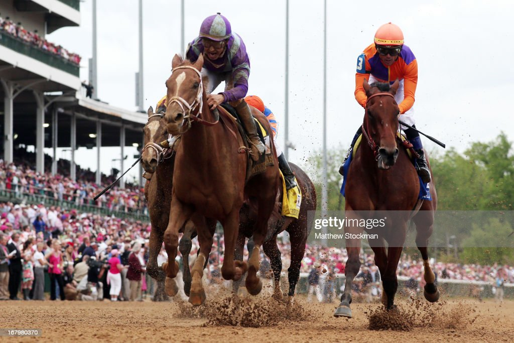 Princess of Sylamar with jockey Mike Smith crosses the finish line to win the 139th running of the Kentucky Oaks at Churchill Downs on May 3, 2013 in Louisville, Kentucky.
