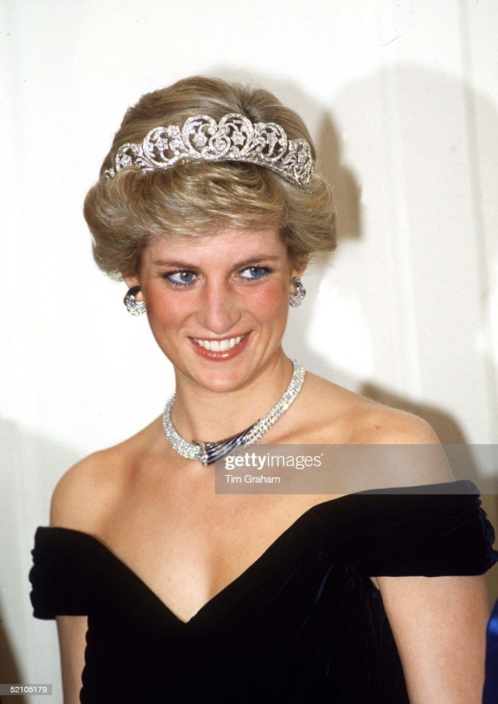 Princess Of Wales In Bonn, Germany Wearing Sapphire And Diamond Jewels Which Were A Gift From The Sultan Of Oman (the Tiara Is Her Own Spencer Tiara) With A Dress Designed By Fashion Designer Victor Edelstein