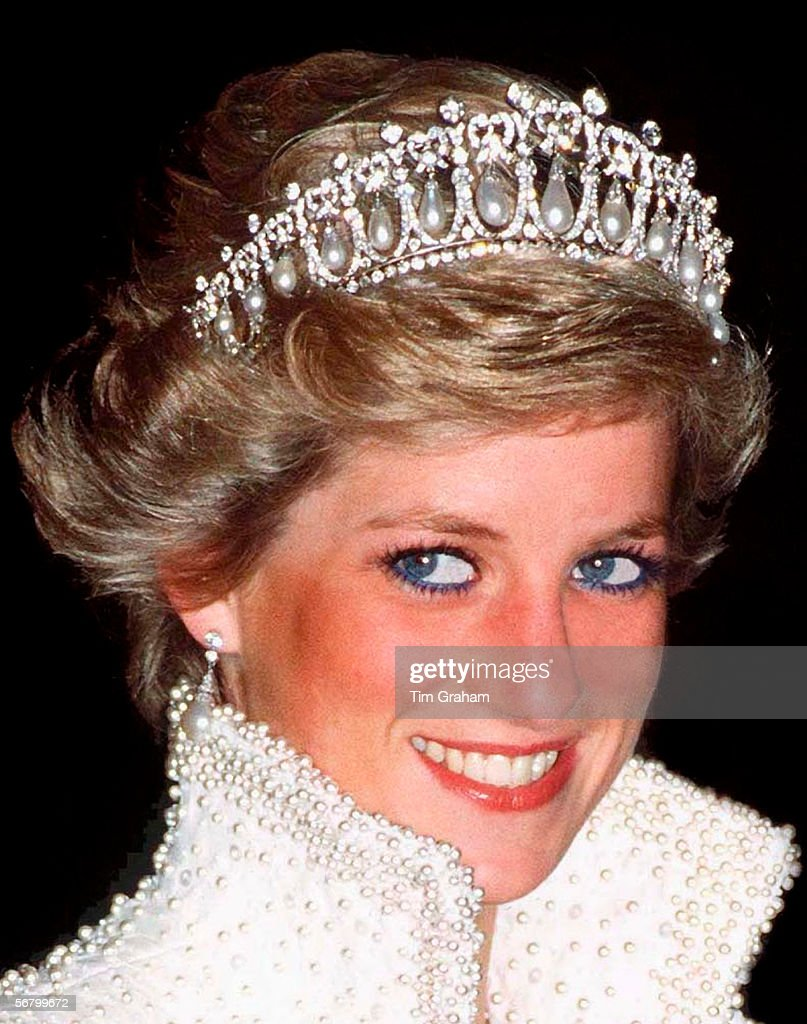 Princess Of Wales In Hong Kong Wearing A Pearl And Diamond Tiara Which Was A Wedding Gift From The Queen.