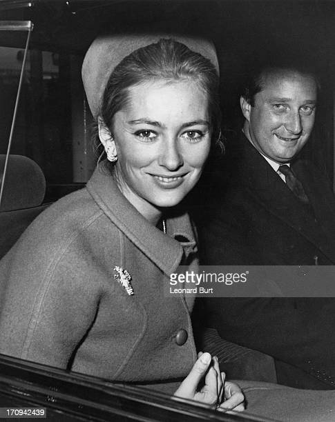 Princess Paola of Belgium and her husband Prince Albert of Belgium later King Albert II of Belgium arrive in London to attend a banquet at Mansion...