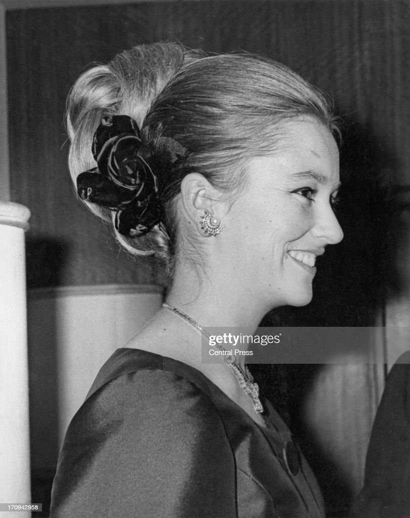 Princess Paola of Belgium (later Queen Paola of Belgium) attends a banquet at the Carlton Towers being held in honour of Prince Alfred of Belgium, London, 17th March 1964.