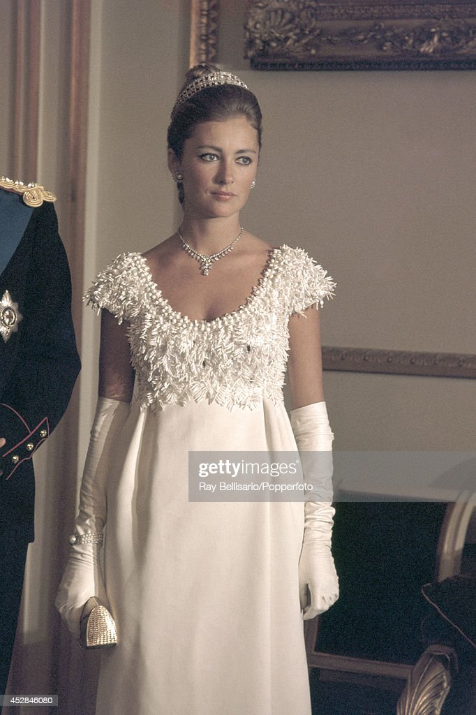 Princess Paola of Belgium during a State Dinner at the Royal Palace in Brussels, circa 1966.