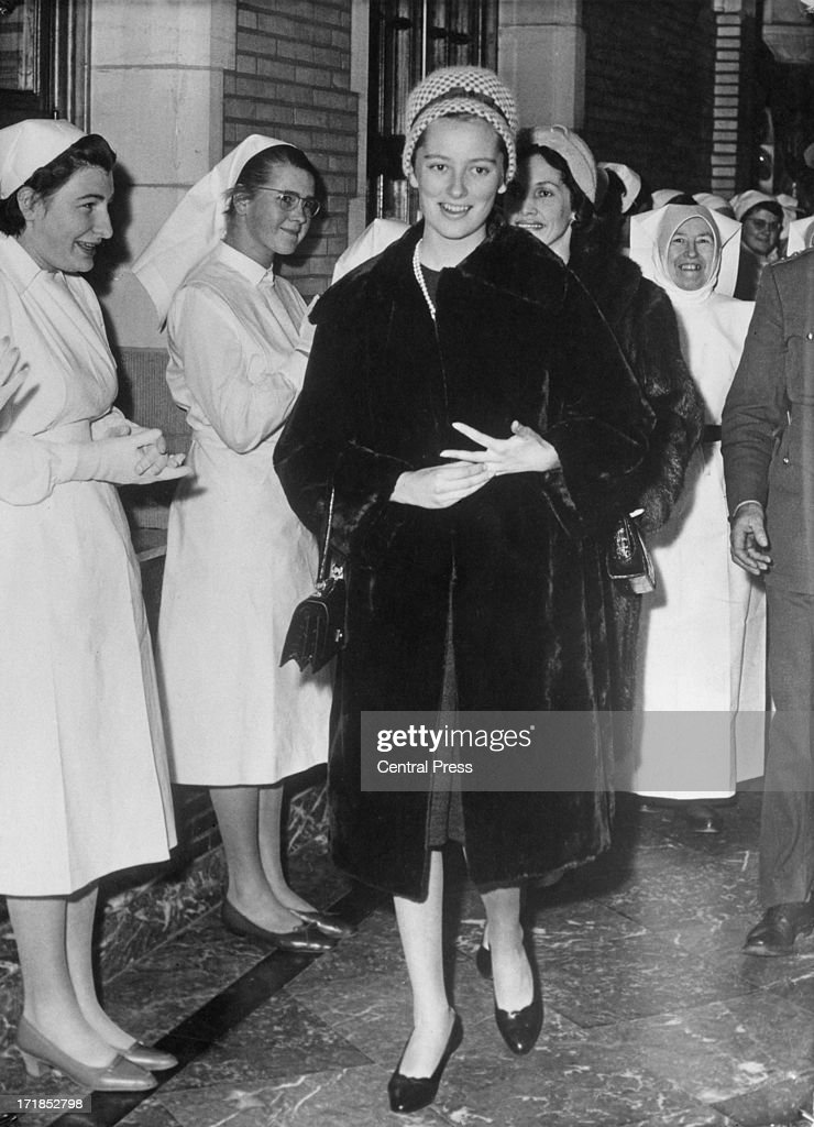 Princess Paola of Belgium (later Queen Paola of Belgium) visits pupils at a medical school in Belgium, 21st December 1959. The people of Belgium are delighted at the recent announcement that the Princess is expecting her first child.