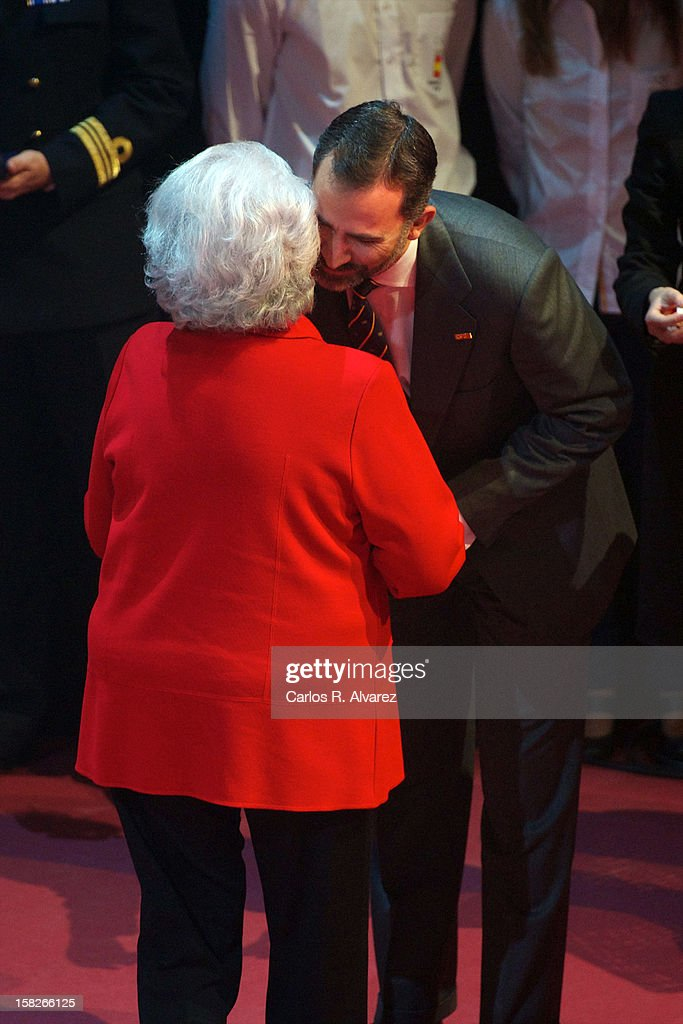 Princess Pilar de Borbon and Prince Felipe of Spain attend Spanish Olympic Commitee Centenary Gala at El Canal theater on December 12, 2012 in Madrid, Spain.