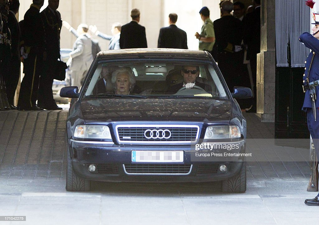 Princess Pilar of Borbon is seen leaving Royal Palace after the mass commemorating the centenary of the birth of Don Juan de Borbon on June 20, 2013 in Madrid, Spain.