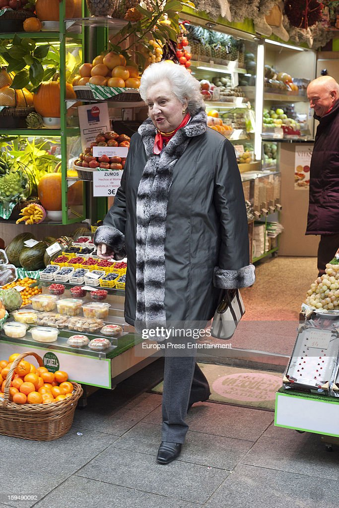 Princess Pilar of Spain, King Juan Carlos' sister, is seen at 'Frutas Vazquez' greengrocery buying fruits on January 11, 2013 in Madrid, Spain.