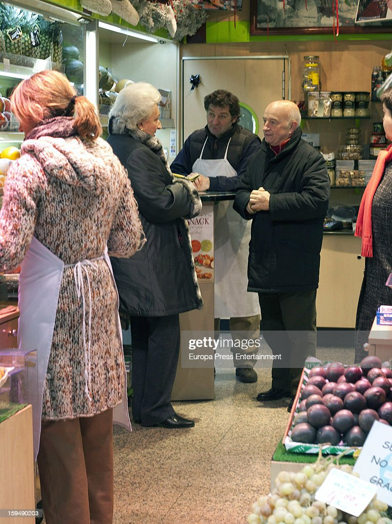 Princess Pilar of Spain, King Juan Carlos' sister (2L), is seen at 'Frutas Vazquez' greengrocery buying fruits on January 11, 2013 in Madrid, Spain.