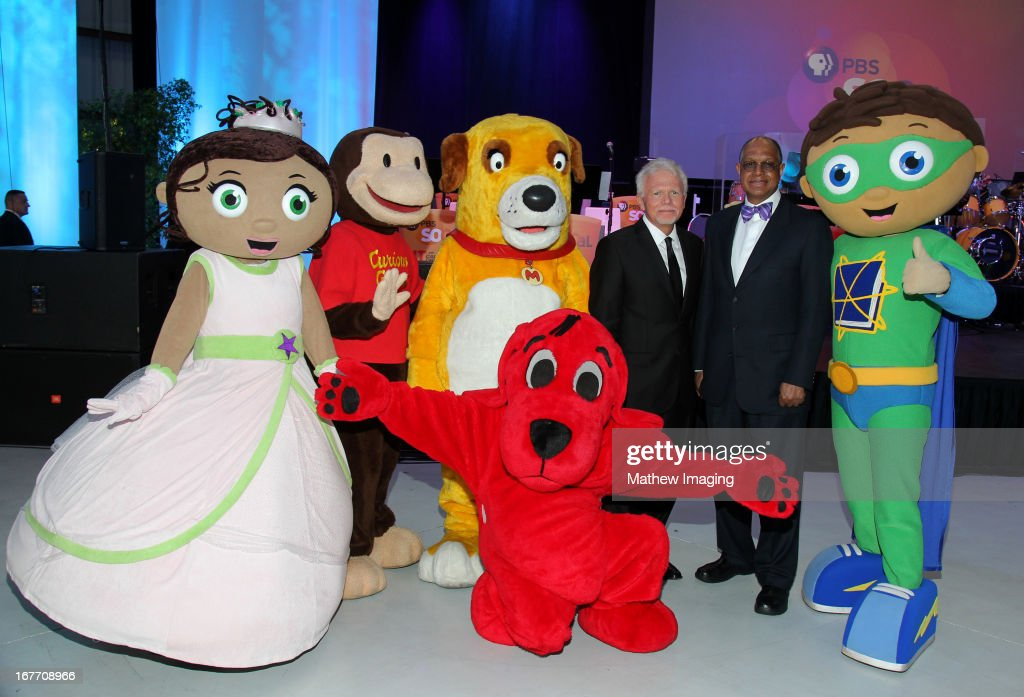 Princess Presto, Curios George, Martha, Clifford, President and CEO of PBS SoCaL, Mel Rogers, CEO of Sesame Workshop H. Melvin Ming and Super Why attend the PBS SoCaL Presents the 2012 Masterpiece Ball on May 5, 2012 at the Atlantic Aviation Hanger in Santa Ana, California.
