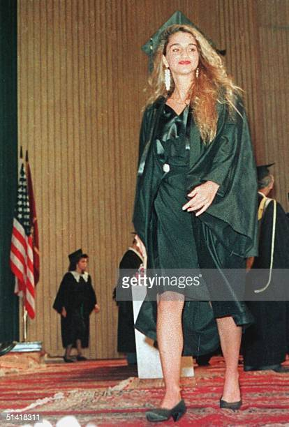 Princess Rania wife of King Abdallah of Jordan smiles after obtaining her degree from the American University in Cairo 1991 Rania originally...