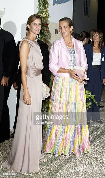 Princess Rosario Of Bulgaria And Infanta Elena Of Spain Attend The Wedding Of Prince Nikolaos Of Greece And Tatiana Blatnik At The Monastery Of Ayios...
