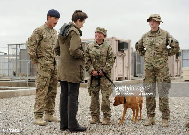 Princess Royal is given a tour of the Military Working Dogs Section by WO2 Squadron Sergeant Major David Blackmore and meets Corporal Willetts and...