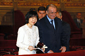 Princess Sayako and Romanian President Ion Iliescu attend the music concert to mark the century of the Japan and Romania diplomatic relationships on...