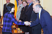 Princess Sayako of Japan visits the upper house on October 10 2002 in Bucharest Romania