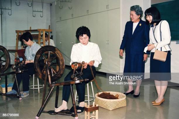 Princess Sayako visits the Morioka HandiWorks Square on October 15 1994 in Morioka Iwate Japan