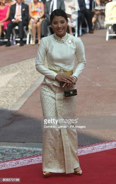Princess Sirivannavari Nariratana of Thailand arriving for the wedding of Prince Albert II of Monaco and Charlene Wittstock at the Place du Palais