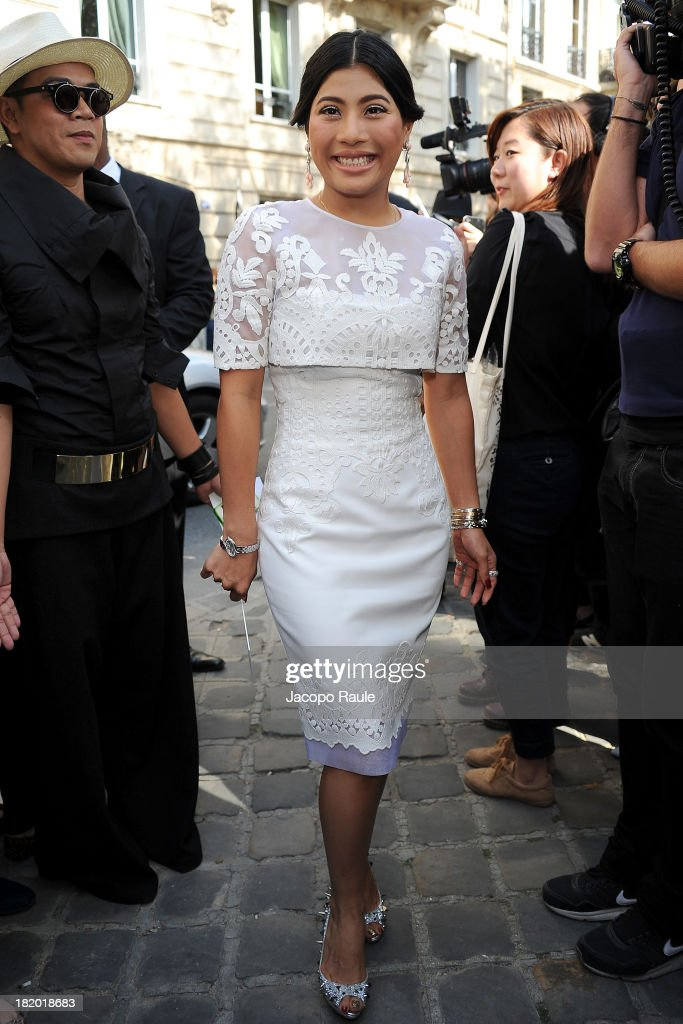 Princess Siriwanwaree Nareerat of Thailand arrives at Christian Dior Fashion Show during Paris Fashion Week Womenswear Spring/Summer 2014 on September 27, 2013 in Paris, France.