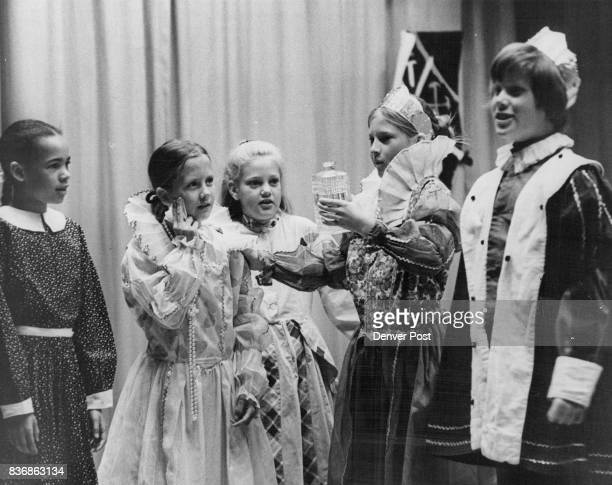 Princess Sobs as Stopper to Bottle is Lost In scene from 'The Crystal Flask' are from left Julia Holliness Ann Wittman as the princess Julie Temmer...