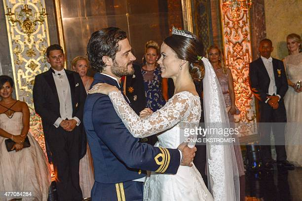 Princess Sofia and Prince Carl Philip dance their first dance during their wedding at the Royal Palace in Stockholm Sweden June 13 2015 AFP PHOTO /...