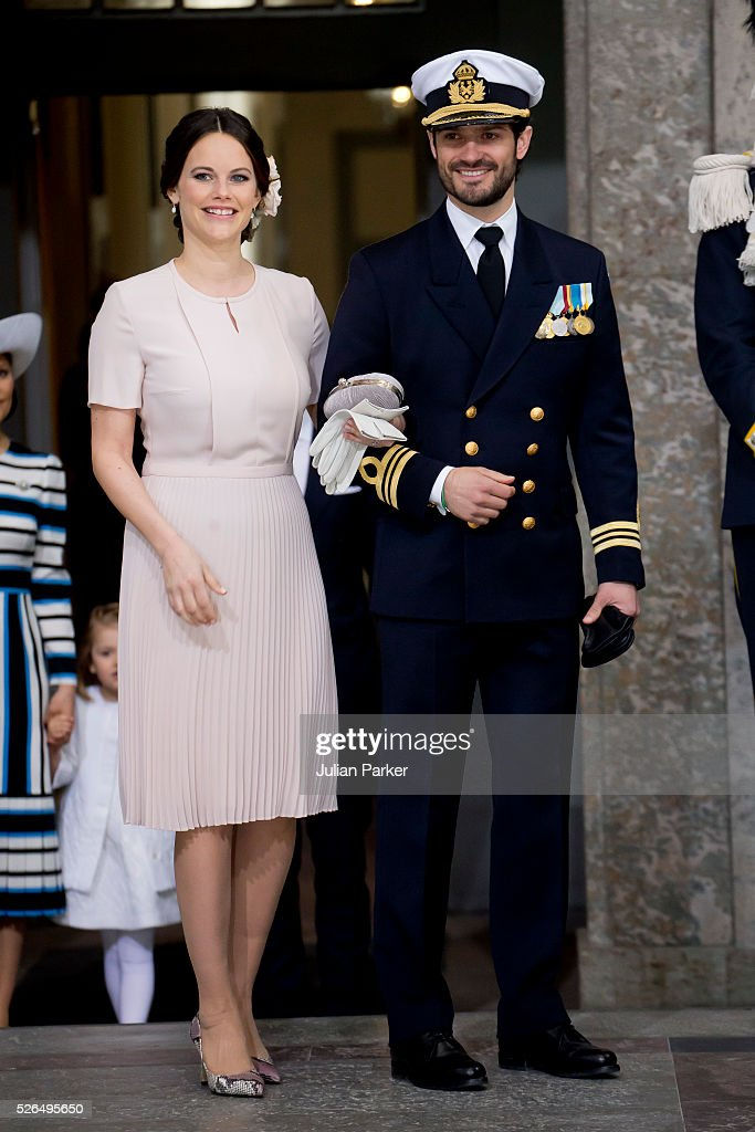 Princess Sofia and Prince Carl Philip of Sweden arrive for the Te Deum Thanksgiving Service, at The Royal Palace, Stockholm, on the occasion of King Carl Gustaf of Sweden's 70th Birthday,on April 30, 2016, in Stockholm, Sweden.