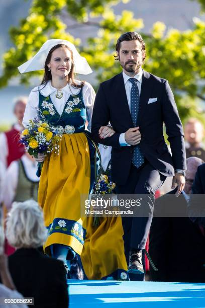 Princess Sofia and Prince Carl Philip of Sweden during the national day celebrations at Skansen on June 6 2017 in Stockholm Sweden