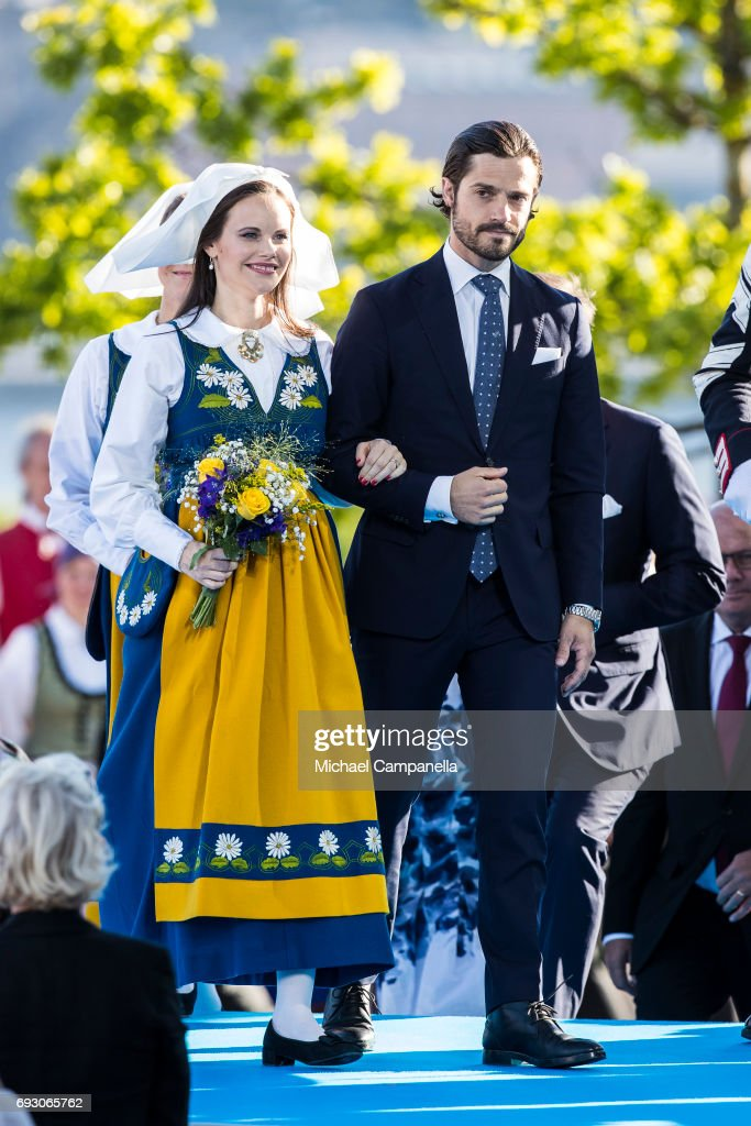 Princess Sofia and Prince Carl Phillip of Sweden during the national day celebrations at Skansen on June 6, 2017 in Stockholm, Sweden.