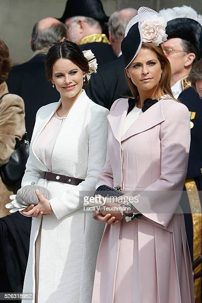Princess Sofia and Princess Madeleine of Sweden are seen at the celebrations of the Swedish Armed Forces for the 70th birthday of King Carl Gustaf of...