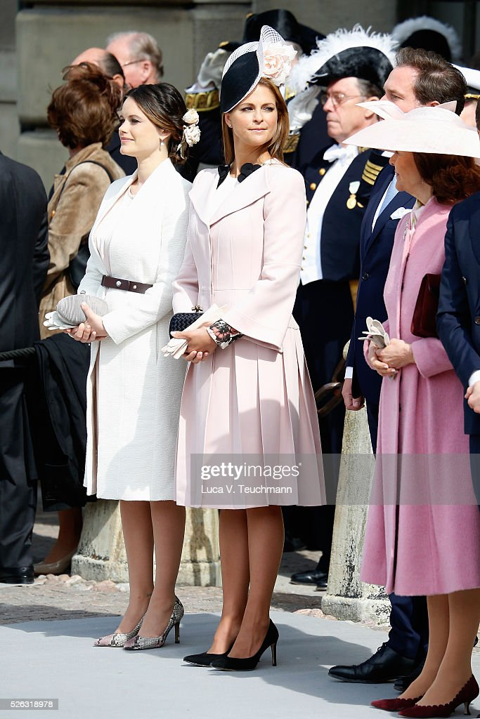 Princess Sofia and Princess Madeleine of Sweden are seen at the celebrations of the Swedish Armed Forces for the 70th birthday of King Carl Gustaf of Sweden on April 30, 2016 in Stockholm, Sweden.