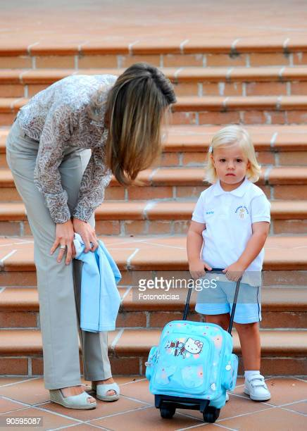 Princess Sofia arrives at school on her first day with her mother Princess Letizia of Spain at El Pardo Infants School on September 11 2009 in Madrid...