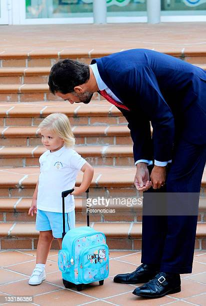Princess Sofia arrives at school on her first day with parents Prince Felipe of Spain and Princess Letizia of Spain at El Pardo Infants School on...