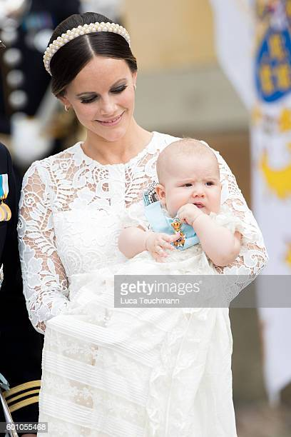 Princess Sofia attend the christening of Prince Alexander of Sweden at Drottningholm Palace Chapel on September 9 2016 in Stockholm Sweden