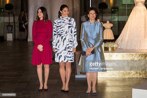 Princess Sofia Crown Princess Victoria and Queen Silvia of Sweden attend an exhibition of royal wedding dresses at the Royal Palace on October 17...