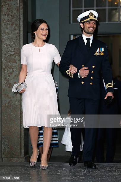 Princess Sofia Duchess of Vaermland and Prince Carl Philip of Sweden arrive at the Royal Palace to attend Te Deum Thanksgiving Service to celebrate...