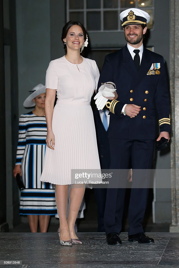 Princess Sofia, Duchess of Vaermland and Prince Carl Philip of Sweden arrive at the Royal Palace to attend Te Deum Thanksgiving Service to celebrate the 70th birthday of King Carl Gustaf of Sweden on April 30, 2016 in Stockholm, Sweden.