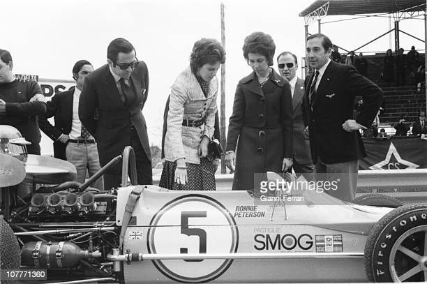 Princess Sofia of Greece and his brother King Constantine of Greece and his wife Anamaria Queen of Greece visit the Jarama race track Madrid Spain