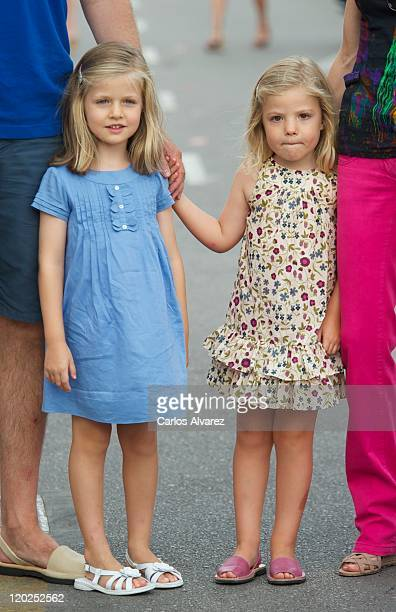 Princess Sofia of Spain and Princess Leonor of Spain arrive to the Real Club Nautico de Palma to attend Jaume Anglada's pop concert during the second...