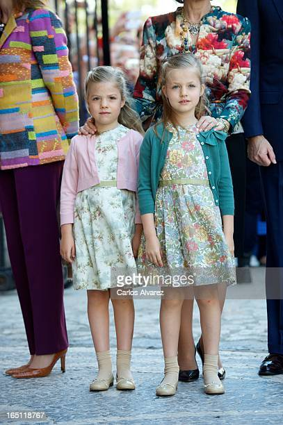 Princess Sofia of Spain and Princess Leonor of Spain attend Easter Mass at the Cathedral of Palma de Mallorca on March 31 2013 in Palma de Mallorca...